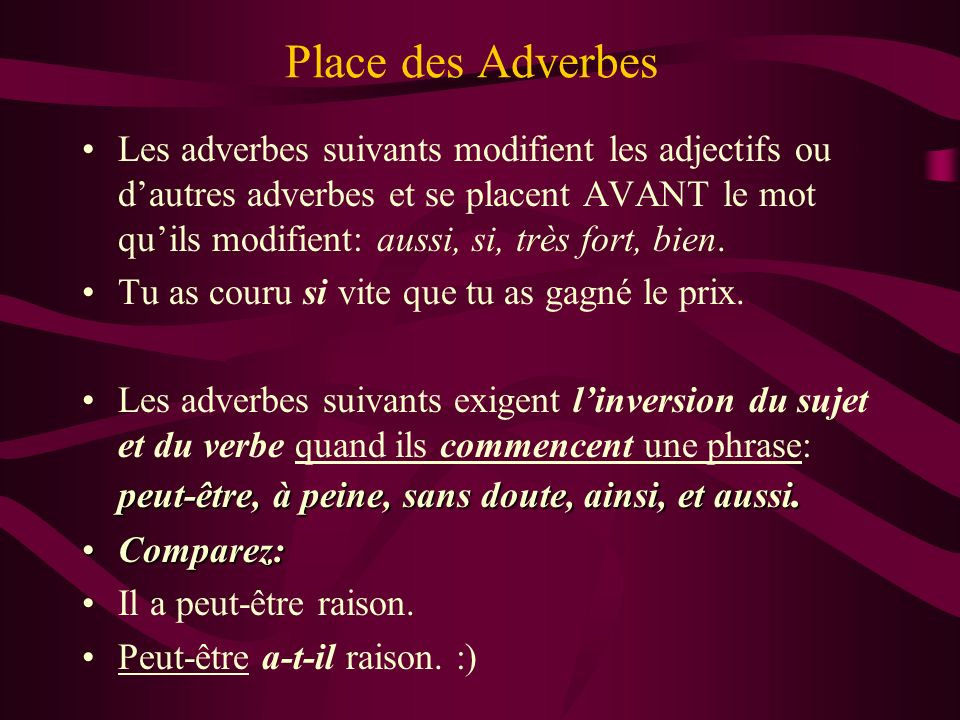 Place des Adverbes