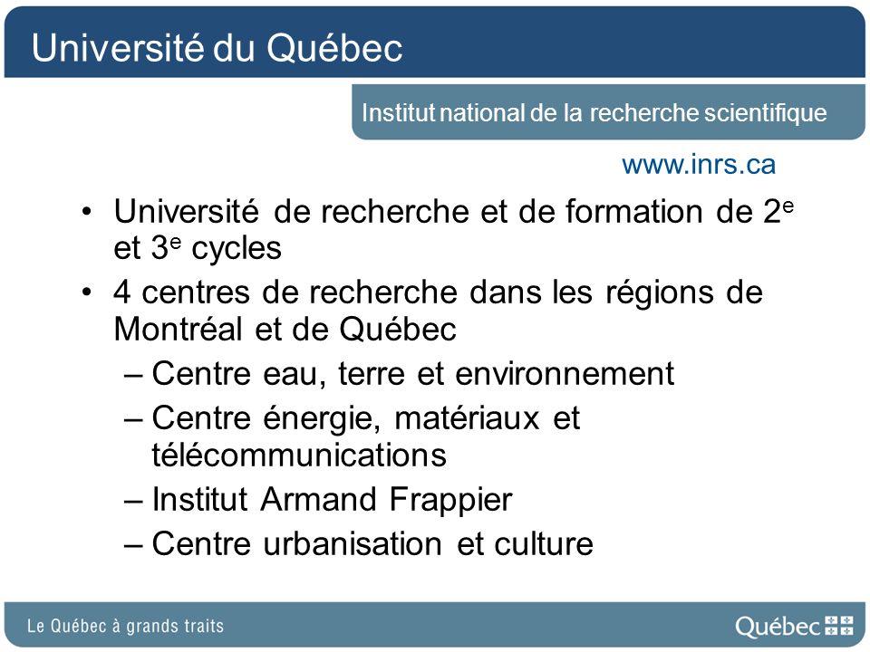 Université du Québec Institut national de la recherche scientifique. www.inrs.ca. Université de recherche et de formation de 2e et 3e cycles.