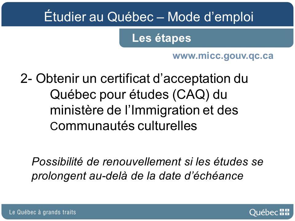 Étudier au Québec – Mode d'emploi