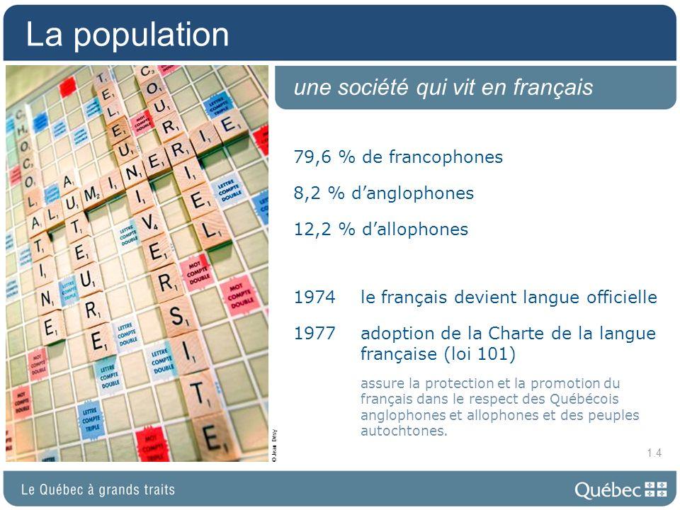 La population une société qui vit en français 79,6 % de francophones