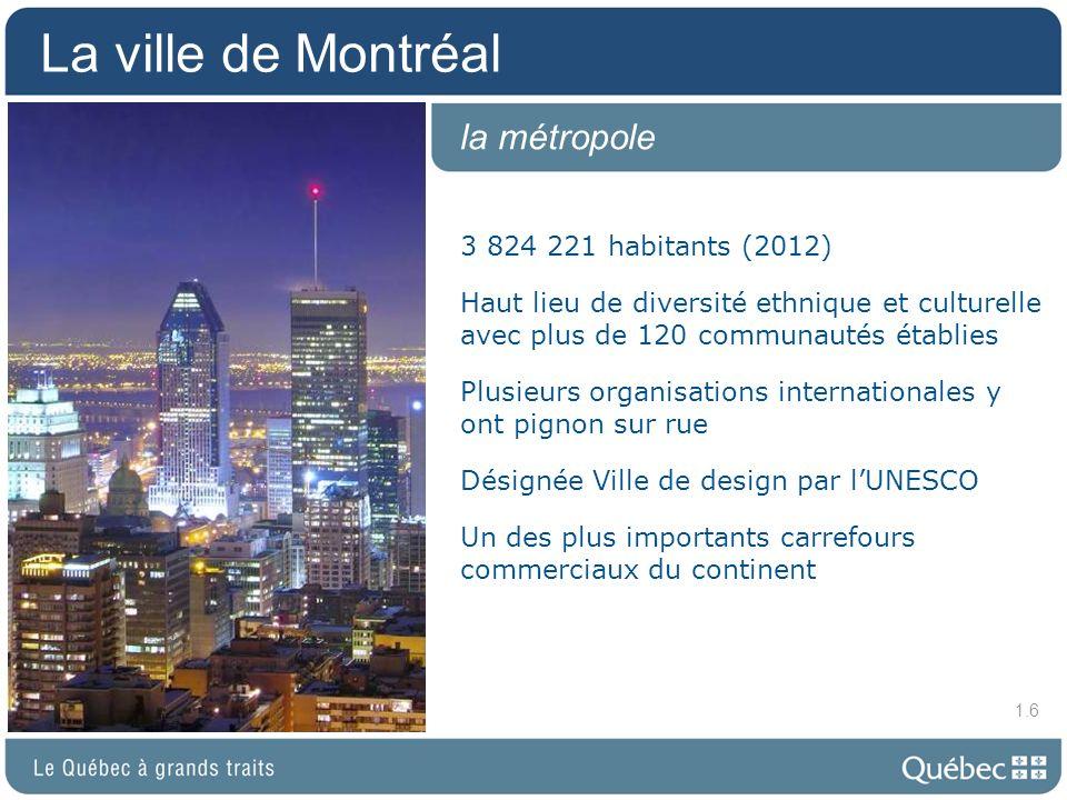 La ville de Montréal la métropole 3 824 221 habitants (2012)