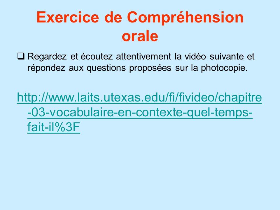 Exercice de Compréhension orale