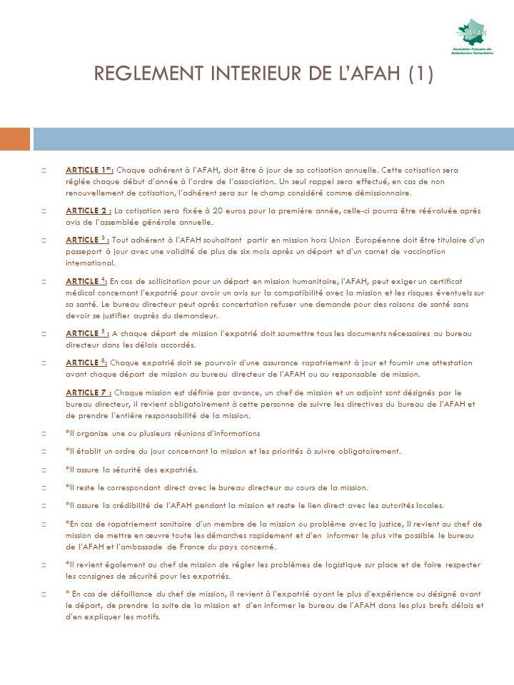 REGLEMENT INTERIEUR DE L'AFAH (1)