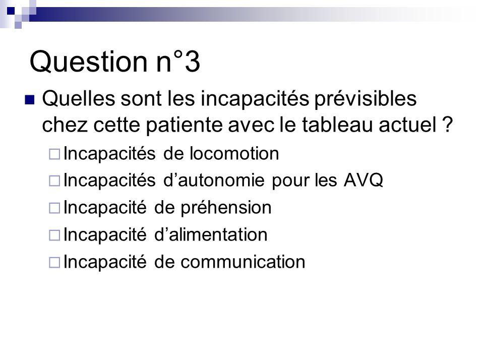 Question n°3 Quelles sont les incapacités prévisibles chez cette patiente avec le tableau actuel Incapacités de locomotion.