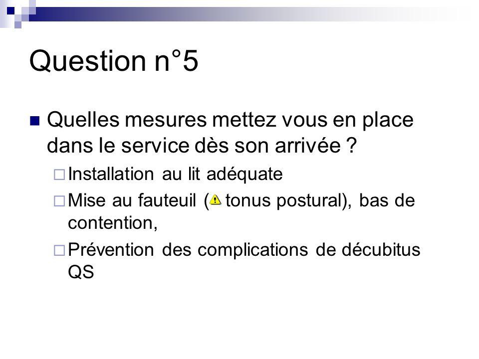 Question n°5 Quelles mesures mettez vous en place dans le service dès son arrivée Installation au lit adéquate.