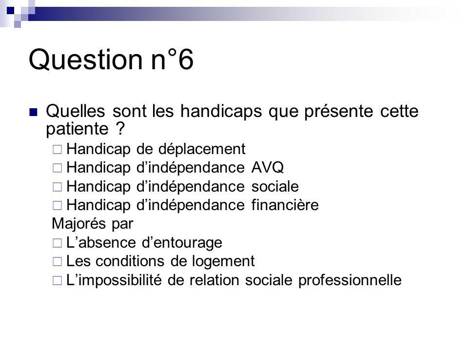 Question n°6 Quelles sont les handicaps que présente cette patiente