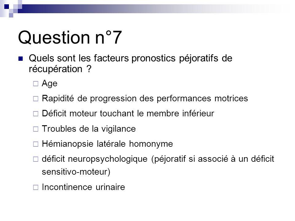 Question n°7 Quels sont les facteurs pronostics péjoratifs de récupération Age. Rapidité de progression des performances motrices.