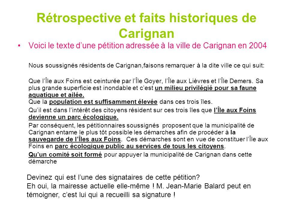 Rétrospective et faits historiques de Carignan
