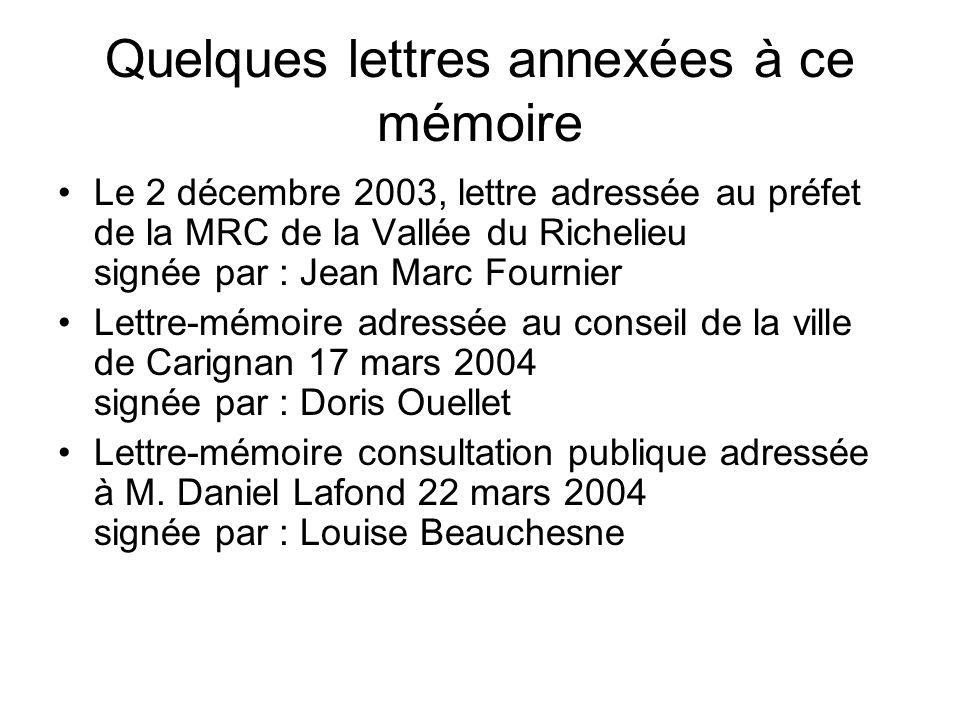 Quelques lettres annexées à ce mémoire