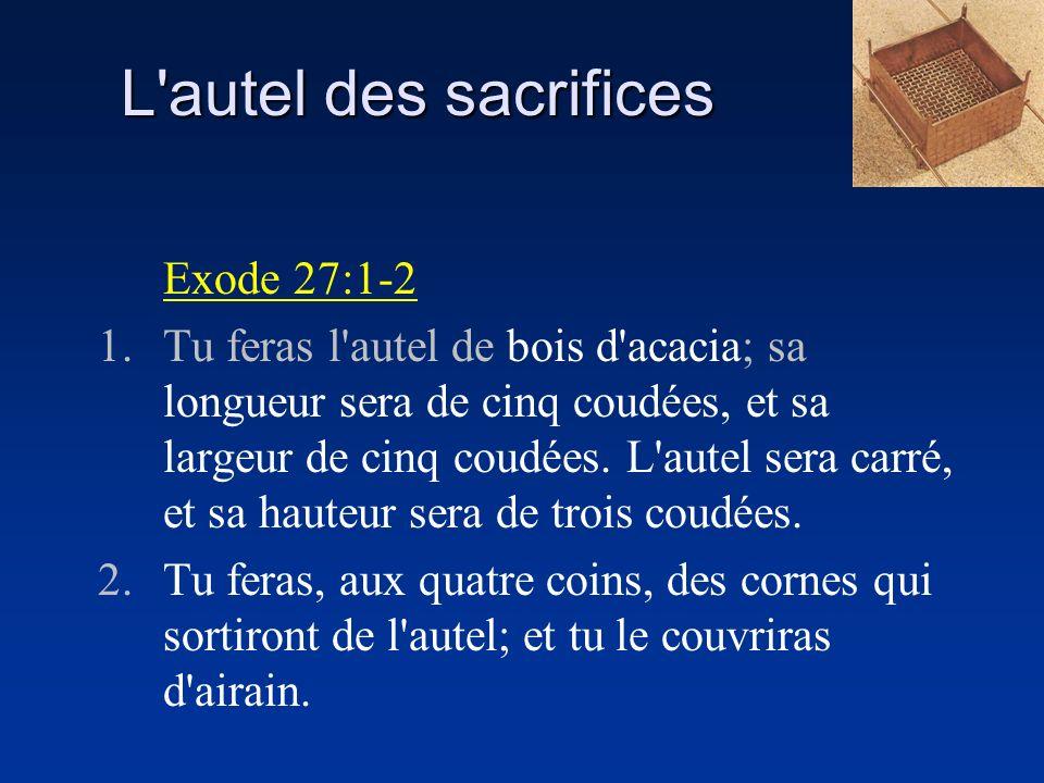 L autel des sacrifices Exode 27:1-2
