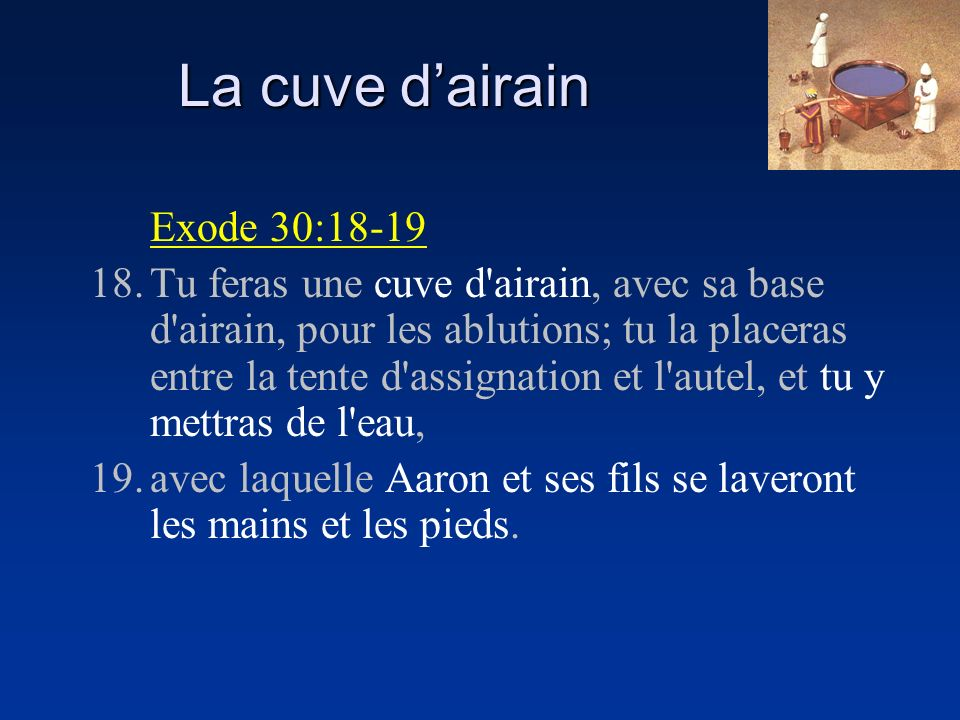 La cuve d'airain Exode 30:18-19