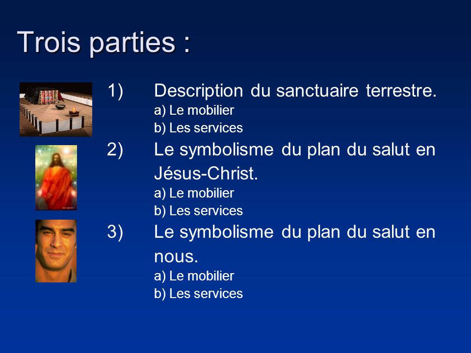 Trois parties : 1) Description du sanctuaire terrestre.