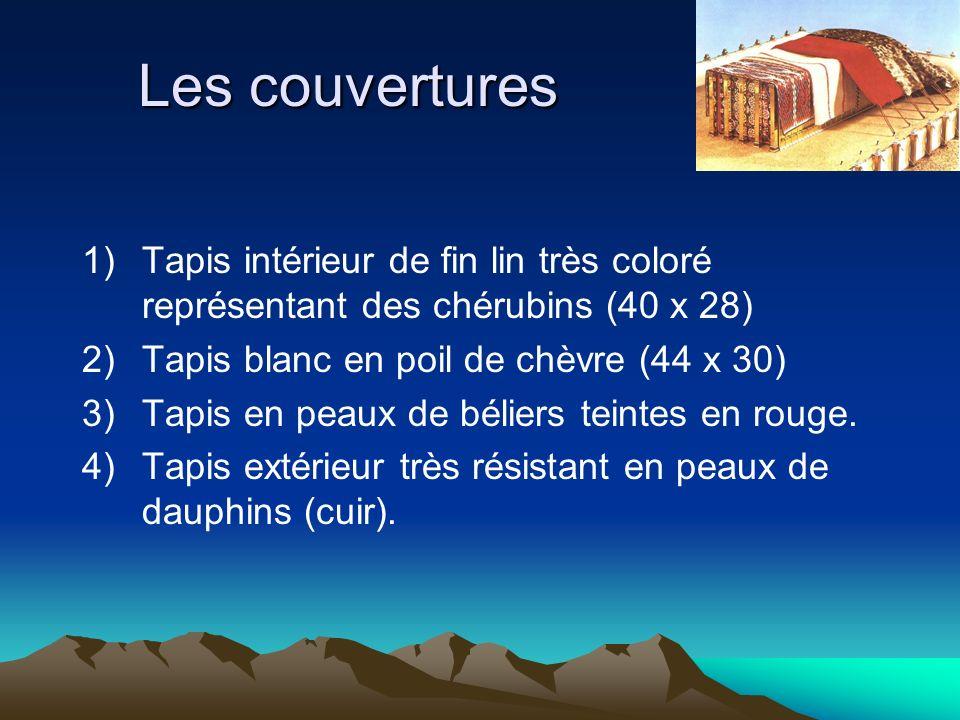 Les couvertures 1) Tapis intérieur de fin lin très coloré représentant des chérubins (40 x 28) 2) Tapis blanc en poil de chèvre (44 x 30)