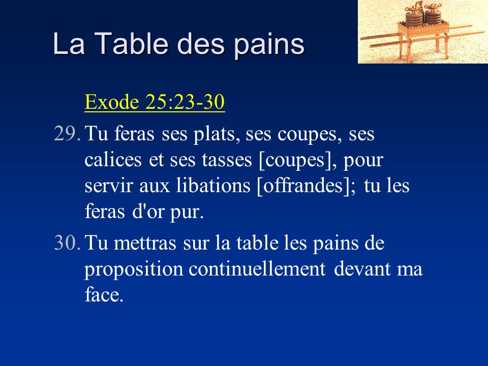 La Table des pains Exode 25:23-30