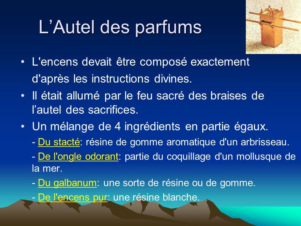 L'Autel des parfums L encens devait être composé exactement