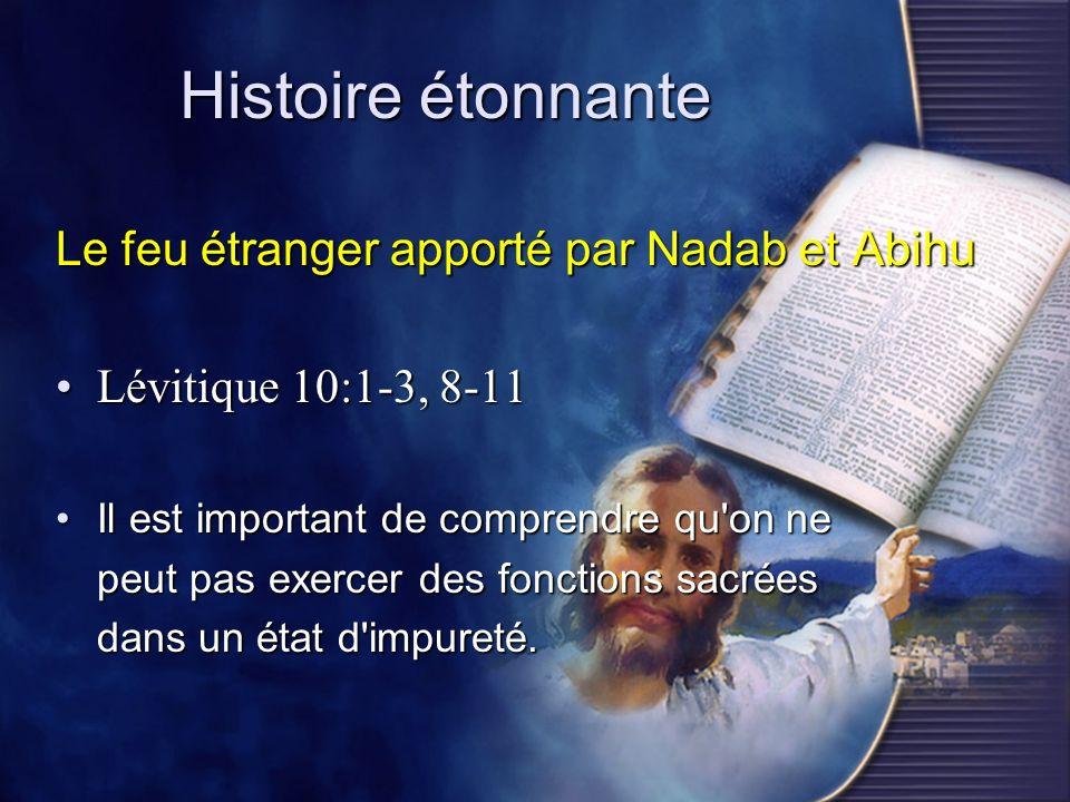 Histoire étonnante Le feu étranger apporté par Nadab et Abihu
