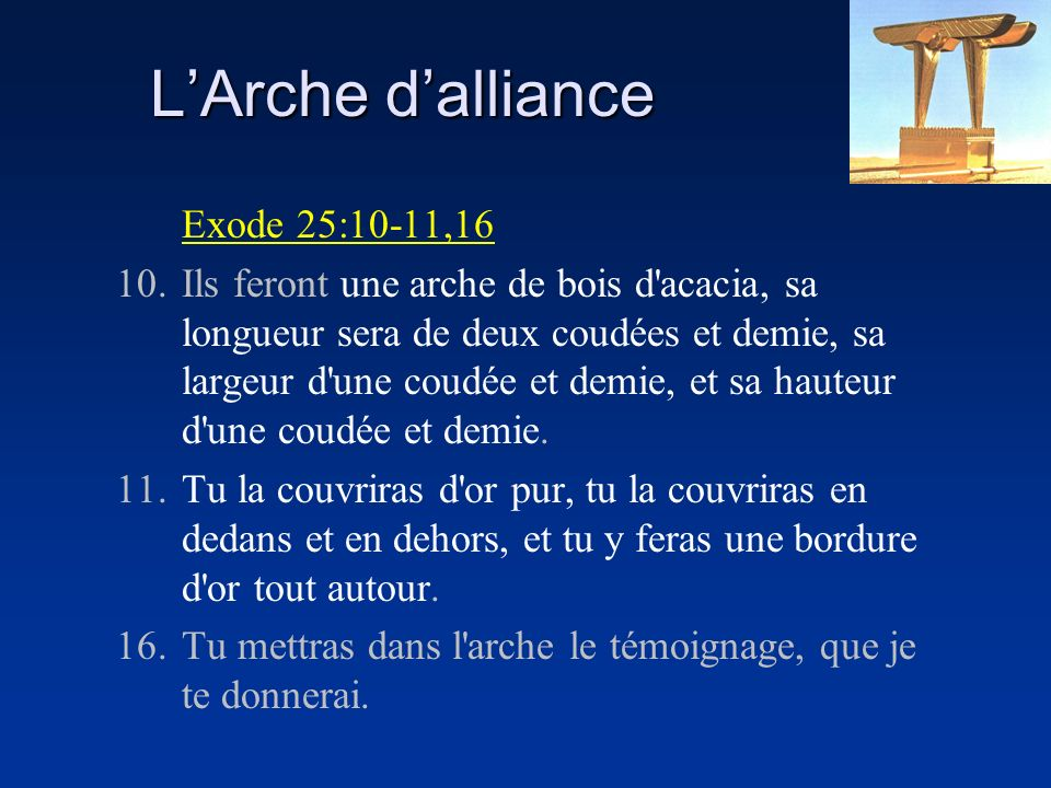 L'Arche d'alliance Exode 25:10-11,16