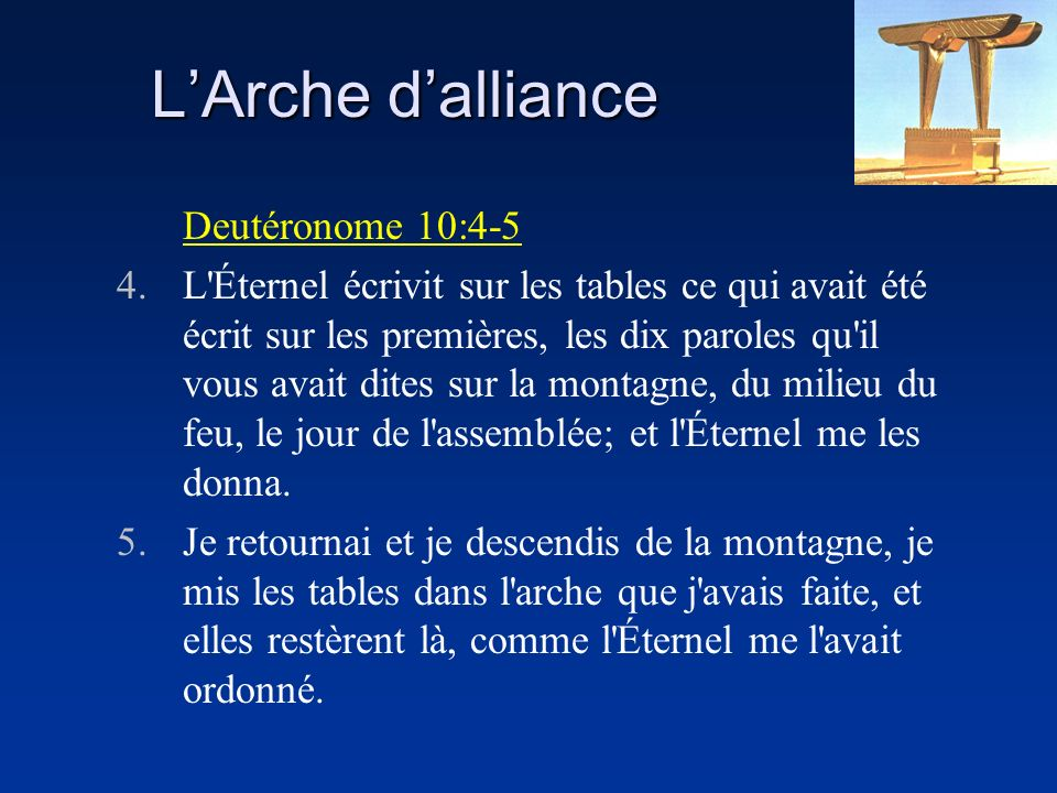 L'Arche d'alliance Deutéronome 10:4-5