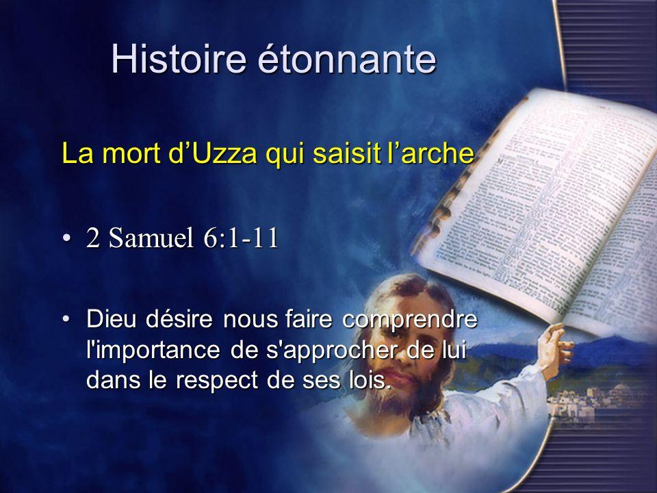 Histoire étonnante La mort d'Uzza qui saisit l'arche 2 Samuel 6:1-11