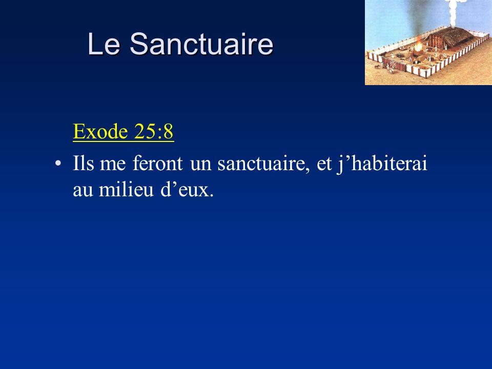 Le Sanctuaire Exode 25:8 Ils me feront un sanctuaire, et j'habiterai au milieu d'eux.