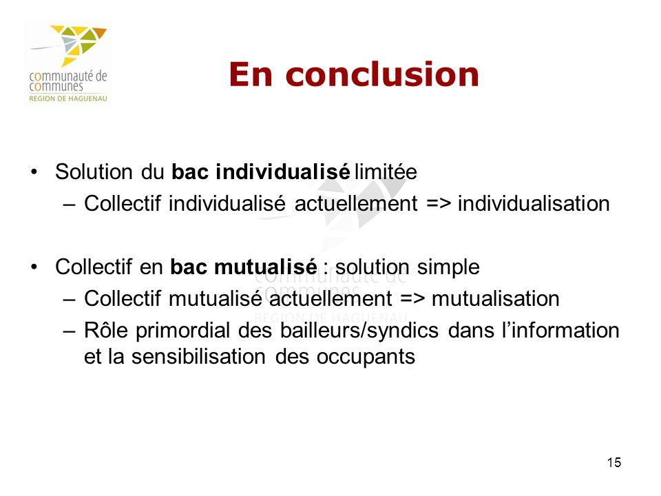 En conclusion Solution du bac individualisé limitée
