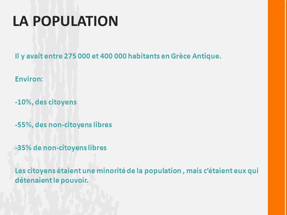 La population Il y avait entre 275 000 et 400 000 habitants en Grèce Antique. Environ: -10%, des citoyens.