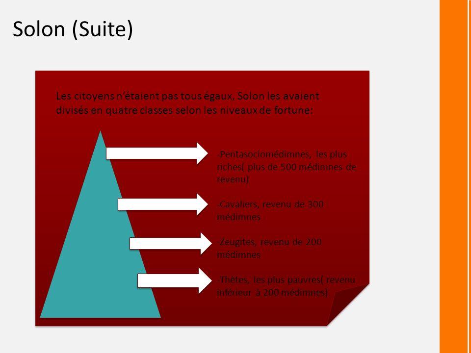 Solon (Suite) Les citoyens n'étaient pas tous égaux, Solon les avaient divisés en quatre classes selon les niveaux de fortune: