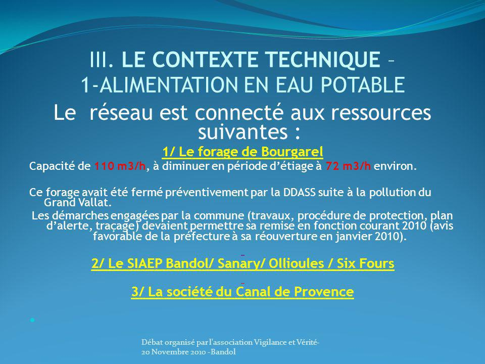 III. LE CONTEXTE TECHNIQUE – 1-ALIMENTATION EN EAU POTABLE