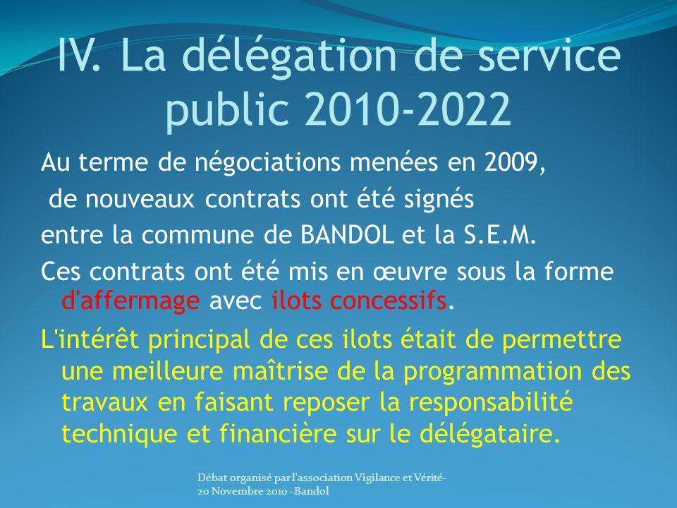 IV. La délégation de service public 2010-2022