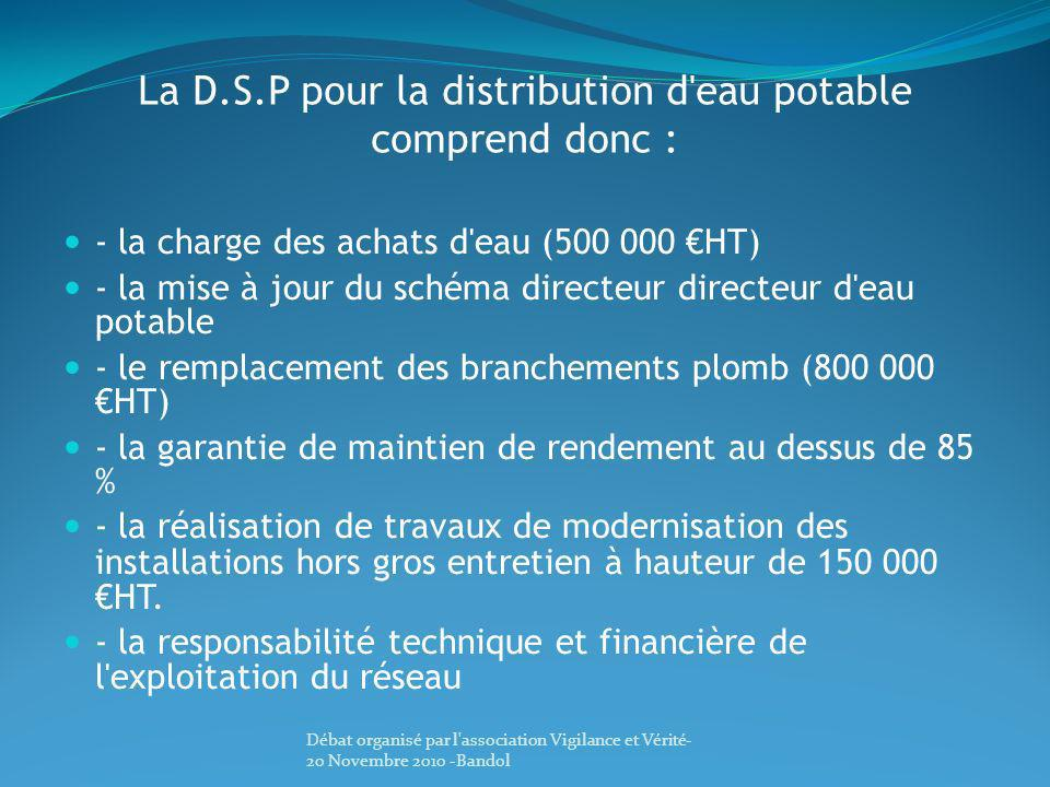 La D.S.P pour la distribution d eau potable comprend donc :