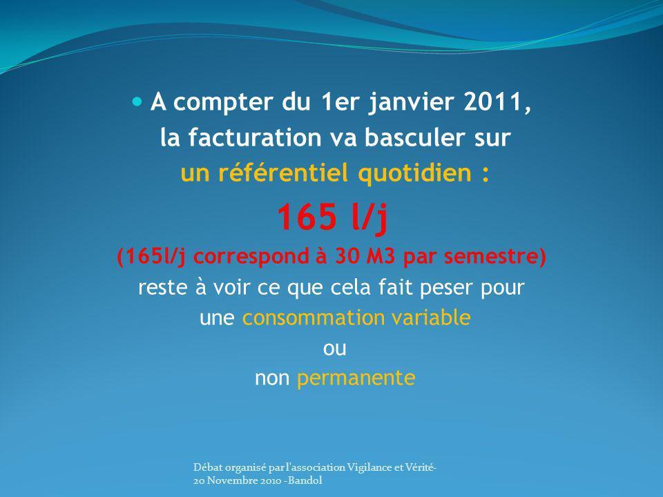 165 l/j A compter du 1er janvier 2011, la facturation va basculer sur
