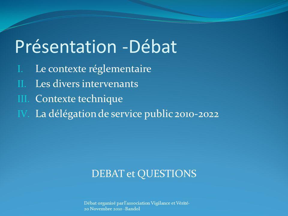 Présentation -Débat Le contexte réglementaire Les divers intervenants