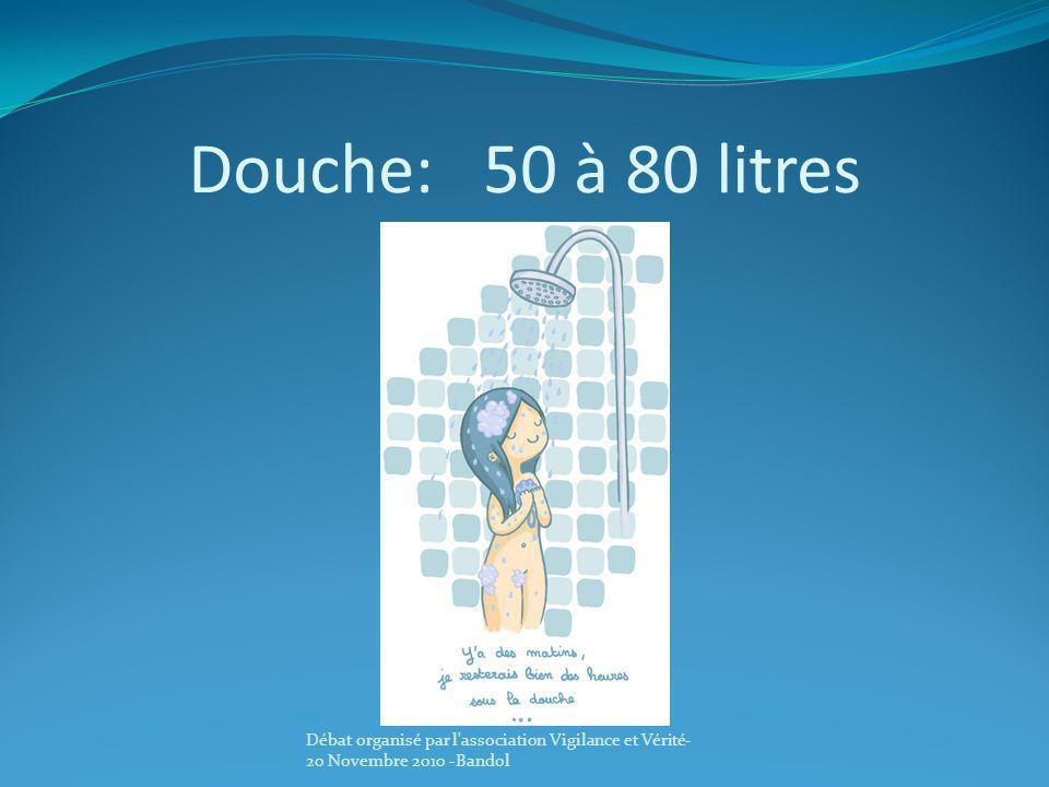Douche: 50 à 80 litres Débat organisé par l association Vigilance et Vérité-20 Novembre 2010 -Bandol.