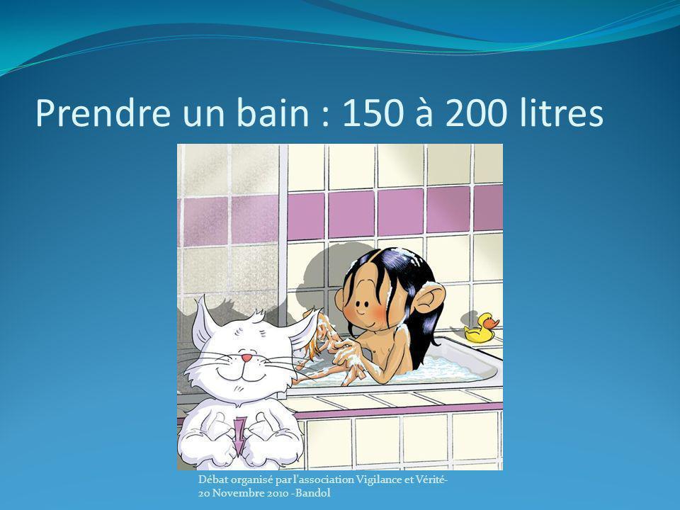 Prendre un bain : 150 à 200 litres