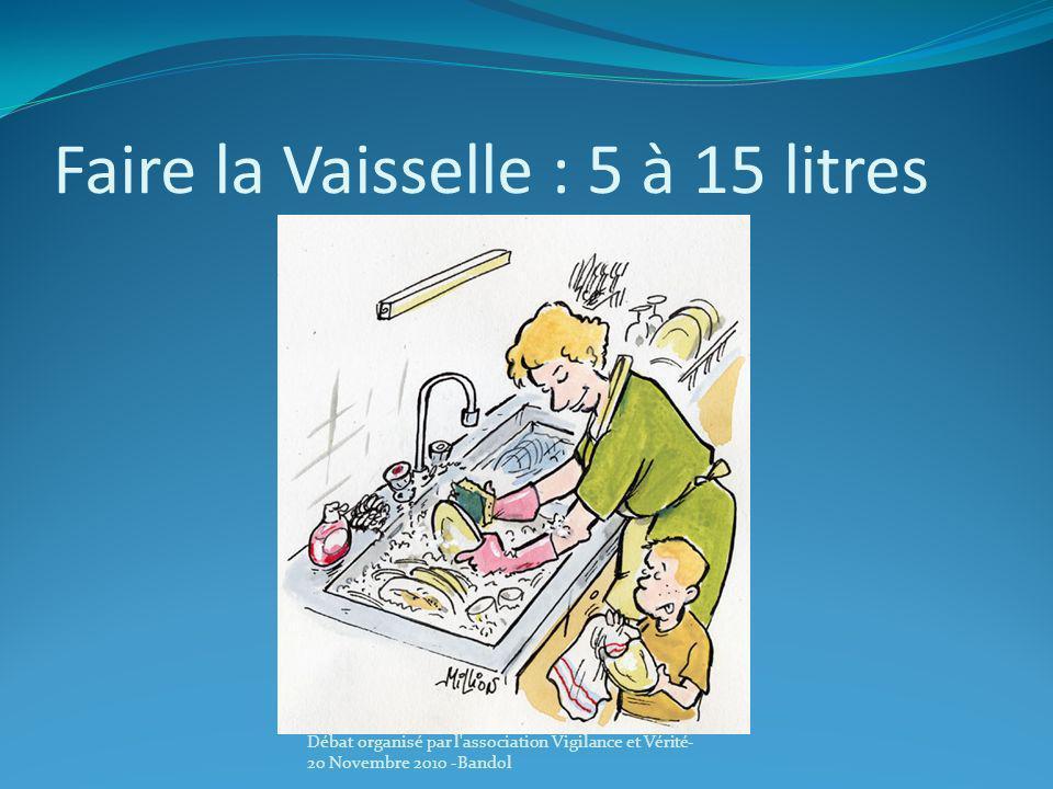 Faire la Vaisselle : 5 à 15 litres