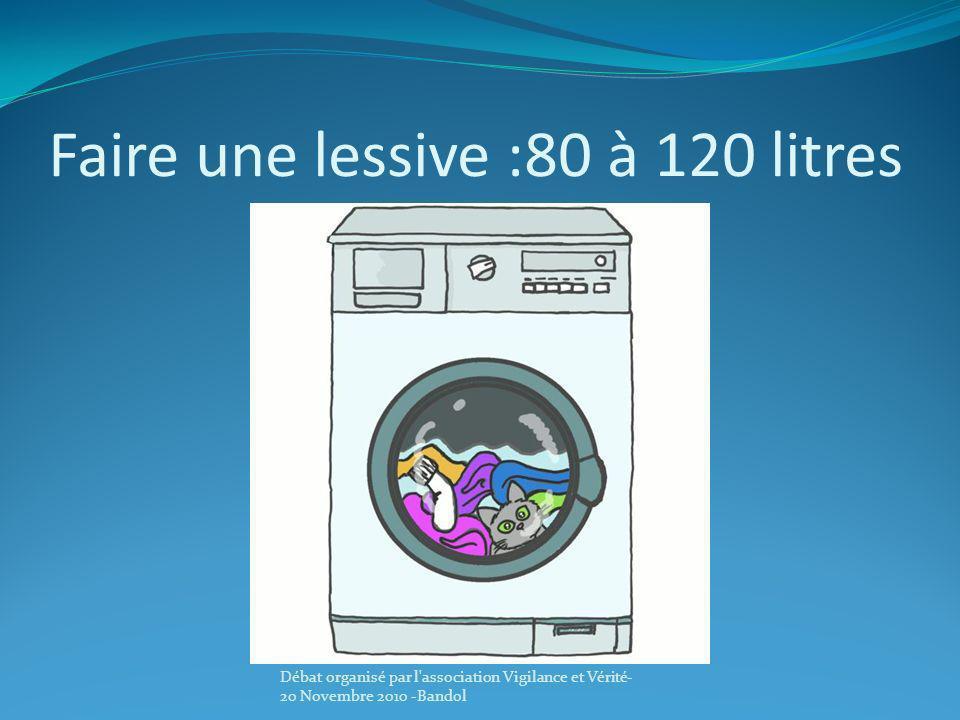 Faire une lessive :80 à 120 litres