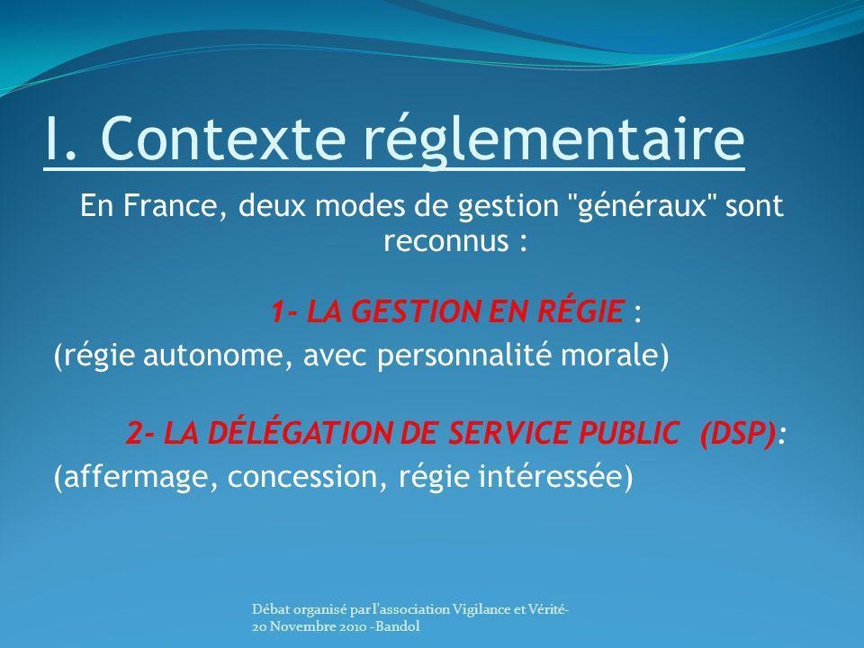 I. Contexte réglementaire