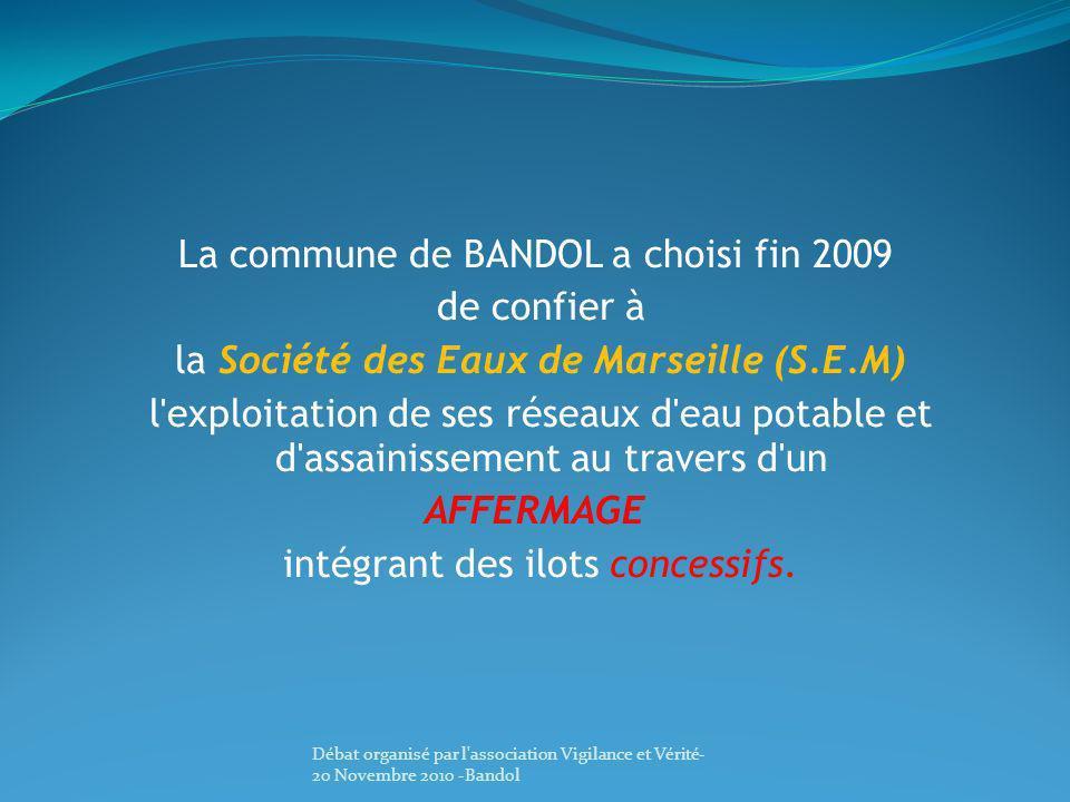 La commune de BANDOL a choisi fin 2009 de confier à