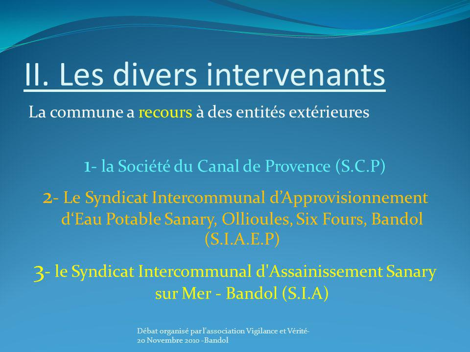 II. Les divers intervenants