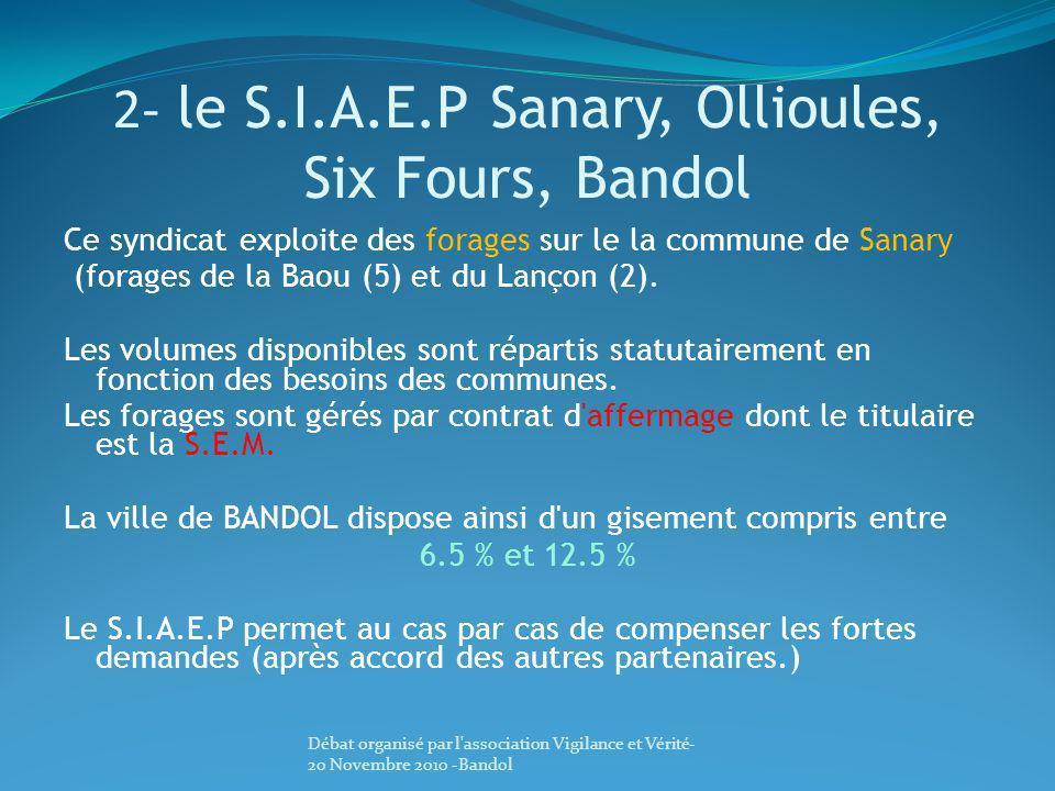 2- le S.I.A.E.P Sanary, Ollioules, Six Fours, Bandol