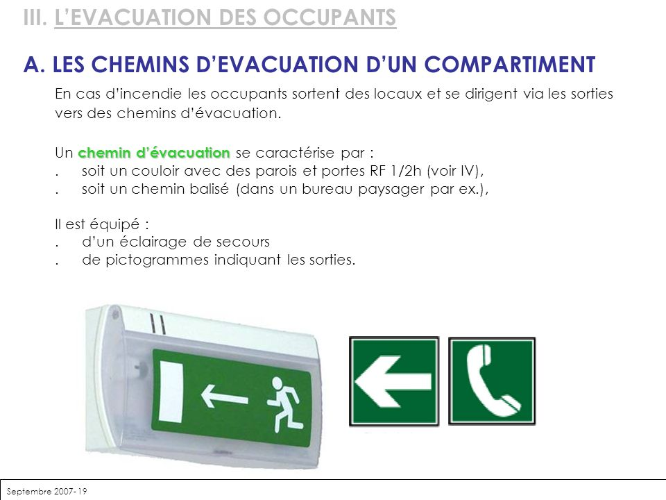 III. L'EVACUATION DES OCCUPANTS