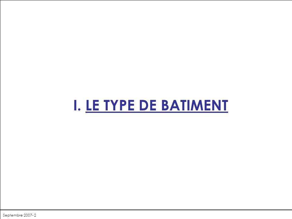 I. LE TYPE DE BATIMENT Septembre 2007- 2
