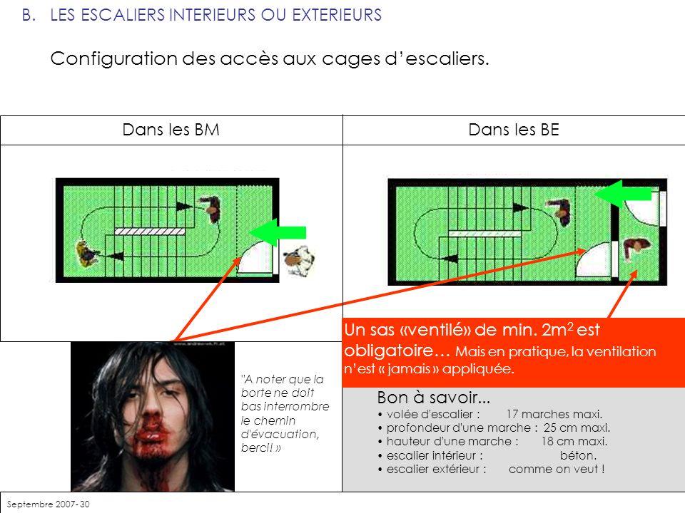 B. LES ESCALIERS INTERIEURS OU EXTERIEURS