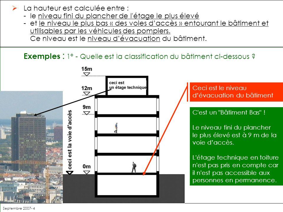 Exemples : 1° - Quelle est la classification du bâtiment ci-dessous