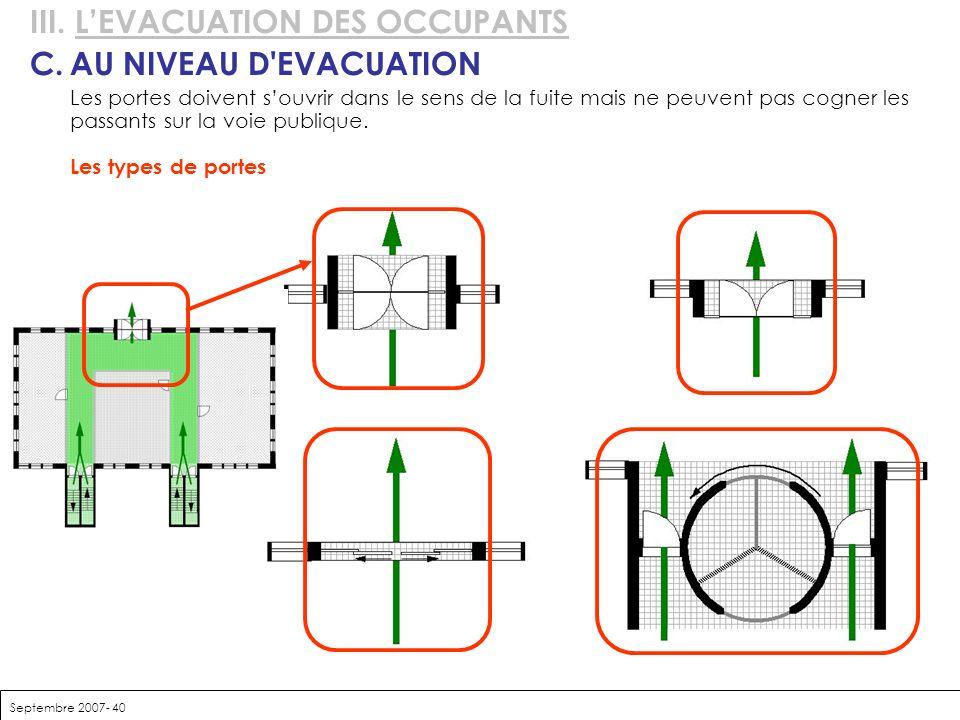 III. L'EVACUATION DES OCCUPANTS C. AU NIVEAU D EVACUATION