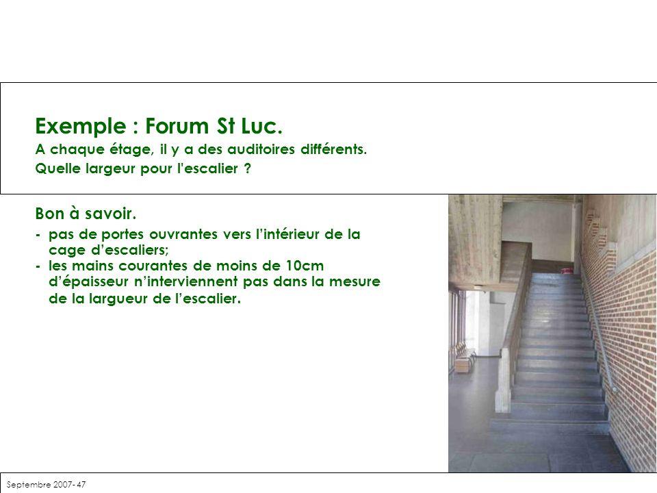 Exemple : Forum St Luc. Bon à savoir.
