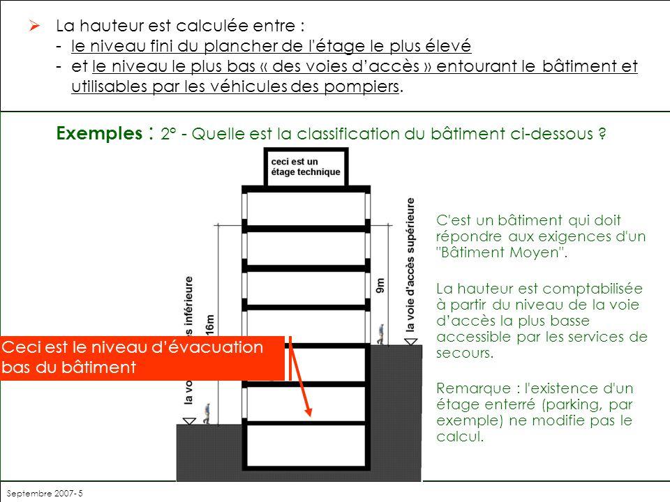 Exemples : 2° - Quelle est la classification du bâtiment ci-dessous