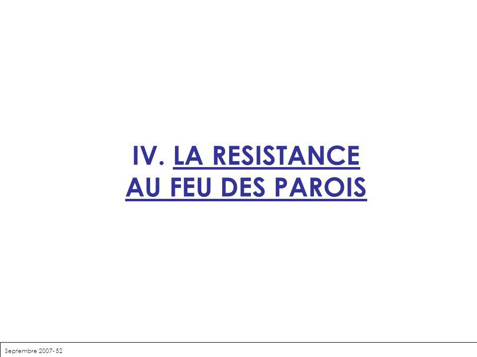 IV. LA RESISTANCE AU FEU DES PAROIS