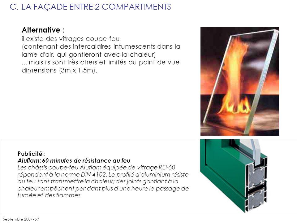 C. LA FAÇADE ENTRE 2 COMPARTIMENTS