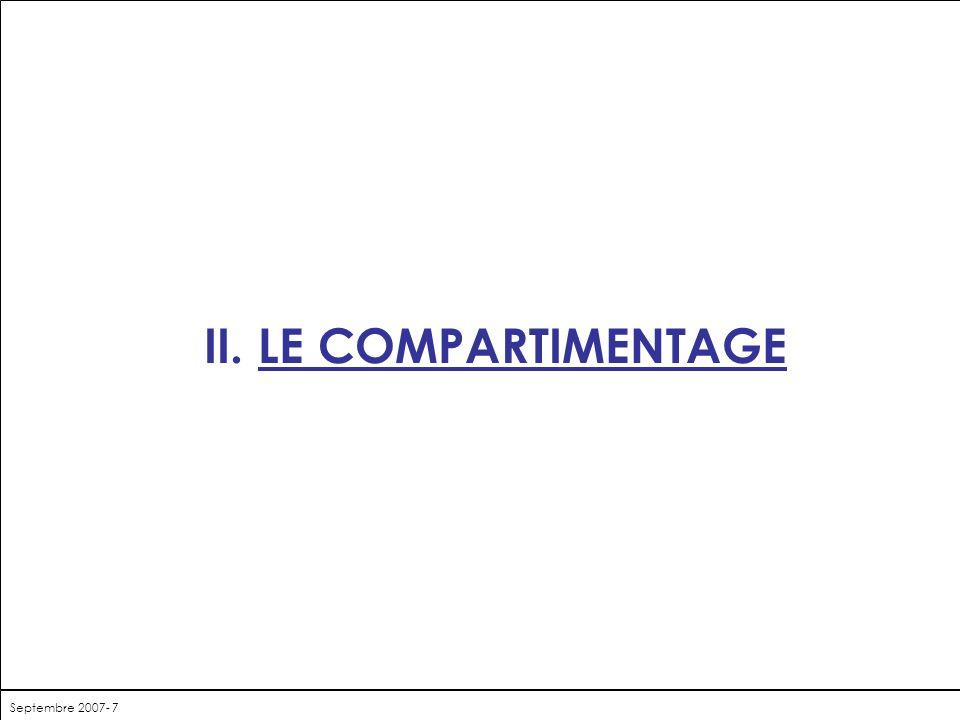 II. LE COMPARTIMENTAGE Septembre 2007- 7